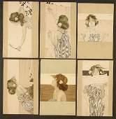 "106: 6 RAPHAEL KIRCHNER POSTCARDS ""Girls between brown"