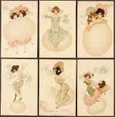 "109: 6 RAPHAEL KIRCHNER POSTCARDS ""Girls and Eggs"" yel"