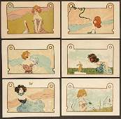 "131: 6 RAPHAEL KIRCHNER POSTCARDS ""Girls with Animals"""
