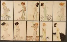 "141: 10 RAPHAEL KIRCHNER POSTCARDS ""Girls with flowers"