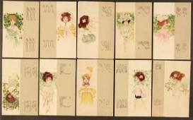 "10 RAPHAEL KIRCHNER POSTCARDS ""Girls with beige b"