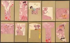 "10 RAPHAEL KIRCHNER POSTCARDS ""Girls with olive g"