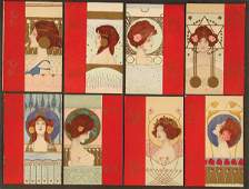 """8 RAPHAEL KIRCHNER POSTCARDS """"Girls faces with re"""