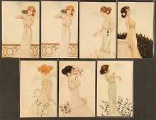 "205: 7 RAPHAEL KIRCHNER POSTCARDS ""Girls with flowers"