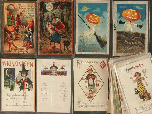 355: 35 HALLOWEEN POSTCARDS nice mix, several are lowe