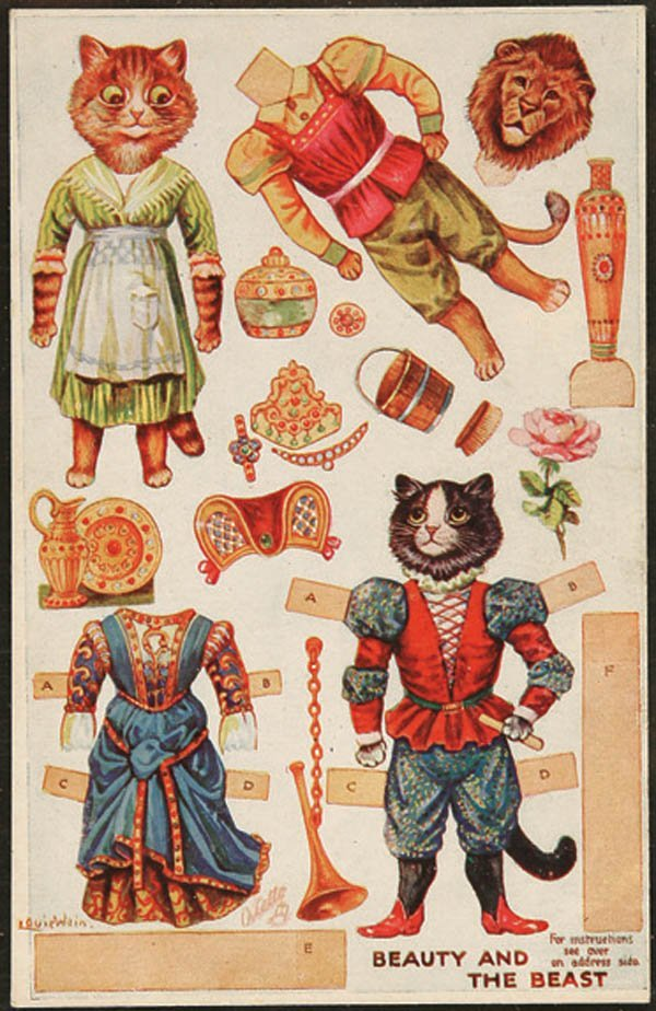 """819: LOUIS WAIN """"CATS"""" PAPER DOLL CUT-OUT POSTCARD Tuc"""