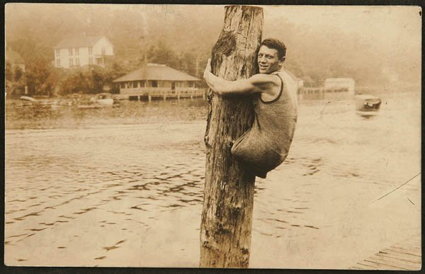 1506: A REAL PHOTO POSTCARD of a man with no legs escap