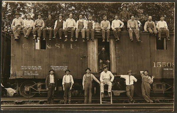 1508: A REAL PHOTO RAILROAD C.M. & St. P. Bunk car