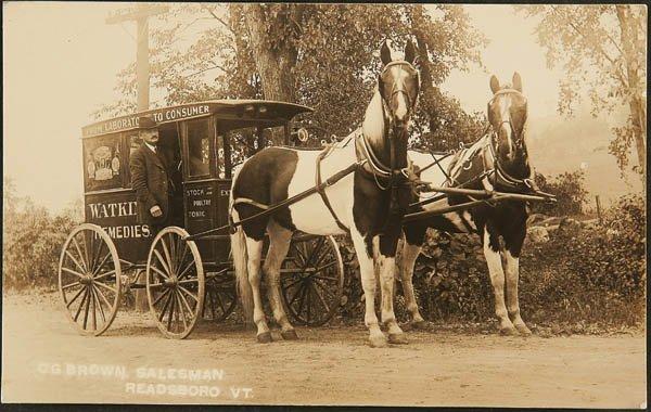 1511: RPPC of a Watkins delivery wagon Readsboro VT