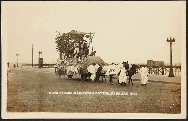 1517:  RPPC  KKK parade float, Galveston TX Cotton