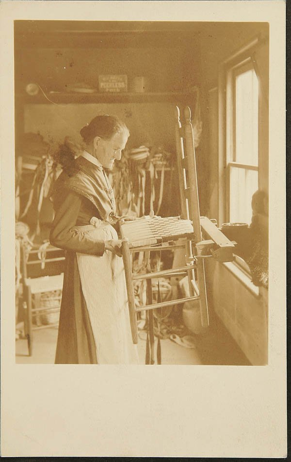1518:  RPPC of Shaker woman building wooden chair
