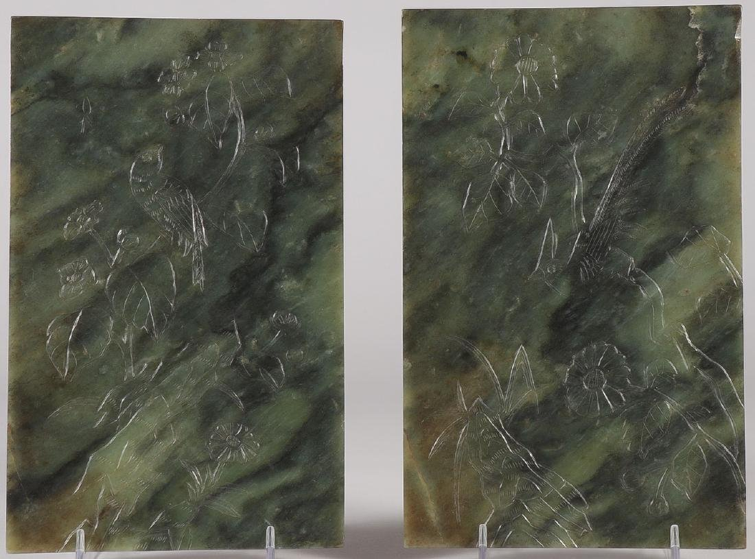 A PAIR OF FINE CARVED CHINESE JADE PANELS - 2