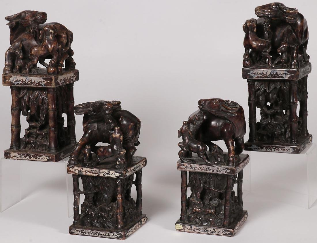 FOUR CHINESE CARVED HARDSTONE FIGURAL SEALS