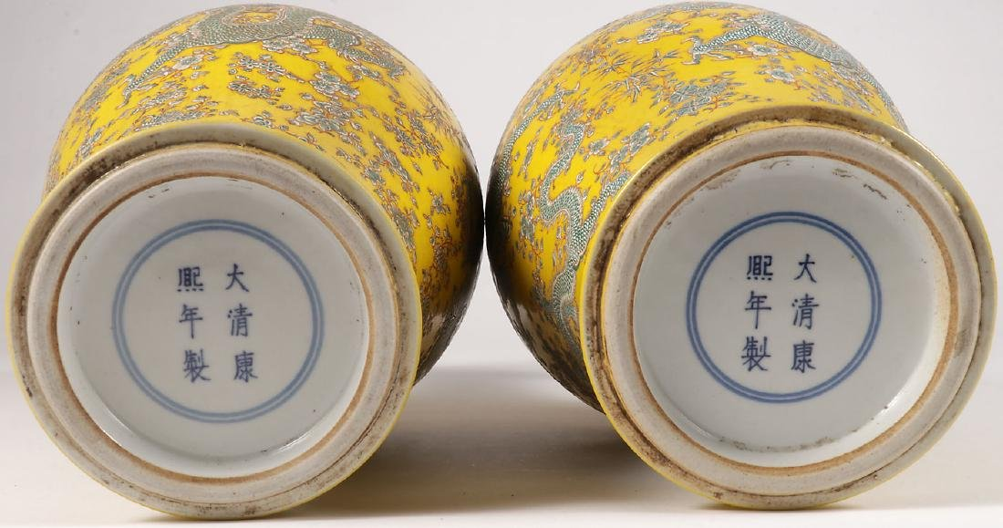 A PAIR OF FINE CHINESE PORCELAIN DRAGON VASES - 2