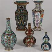 A FIVE PIECE GROUP OF CHINESE CLOISONNE ENAMEL