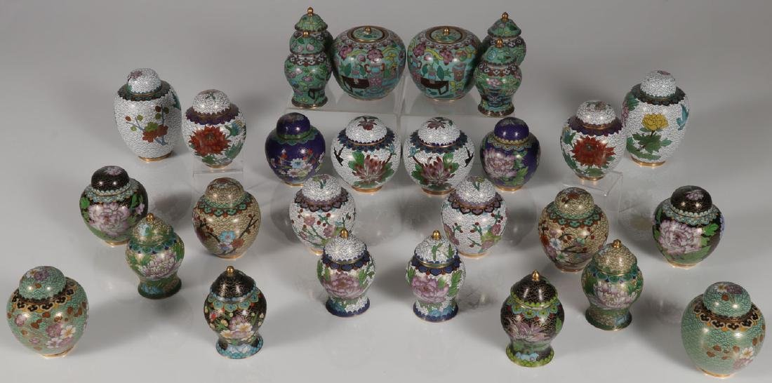 28 PIECE GROUP OF CHINESE CLOISONNE ENAMEL JARS