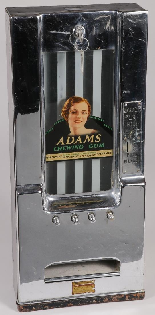 A COIN OPERATED ADAMS GUM MACHINE, CIRCA 1930S