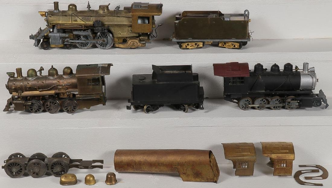 FIVE BRASS MODEL TRAIN ENGINES AND TENDERS
