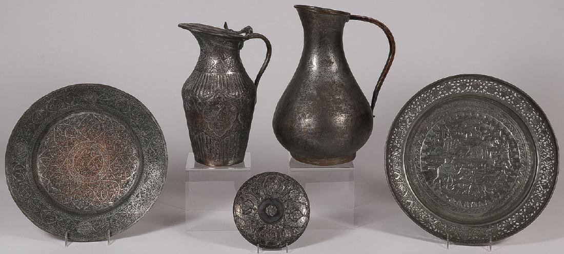 FIVE MIDDLE EASTERN COPPER AND PEWTERWARE ITEMS