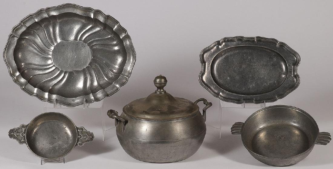 FIVE MIDDLE EASTERN COPPER AND PEWTERWARE ITEMS - 2