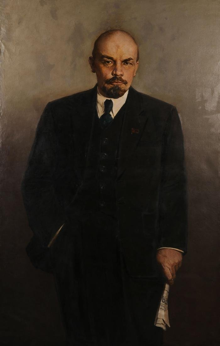 LARGE SIGNED RUSSIAN PAINTING OF LENIN