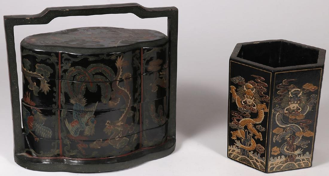 TWO CHINESE LACQUERED CONTAINERS