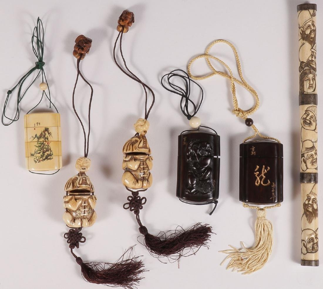 CHINESE CARVED BONE AND WOOD ITEMS