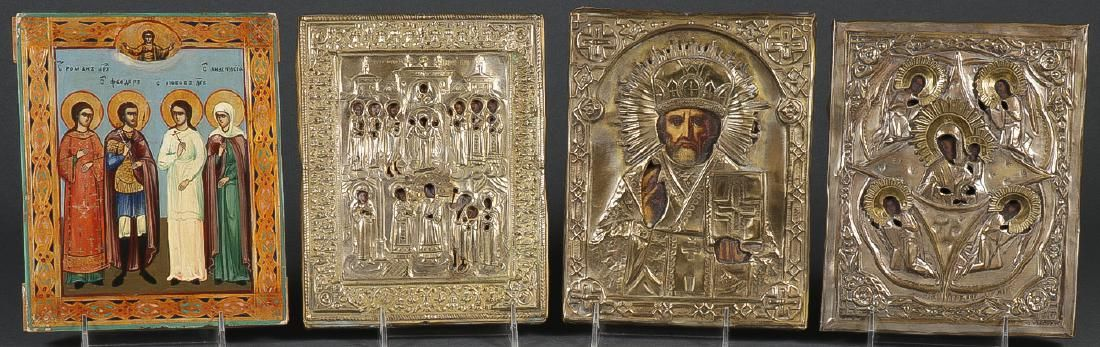 GROUP OF FOUR RUSSIAN ICONS CIRCA 1875