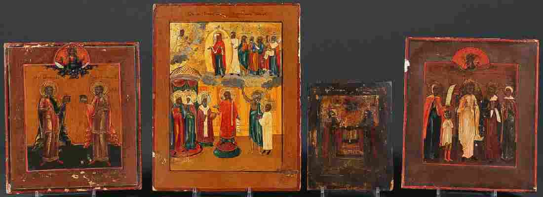 GROUP OF FOUR RUSSIAN ICONS CIRCA 1850