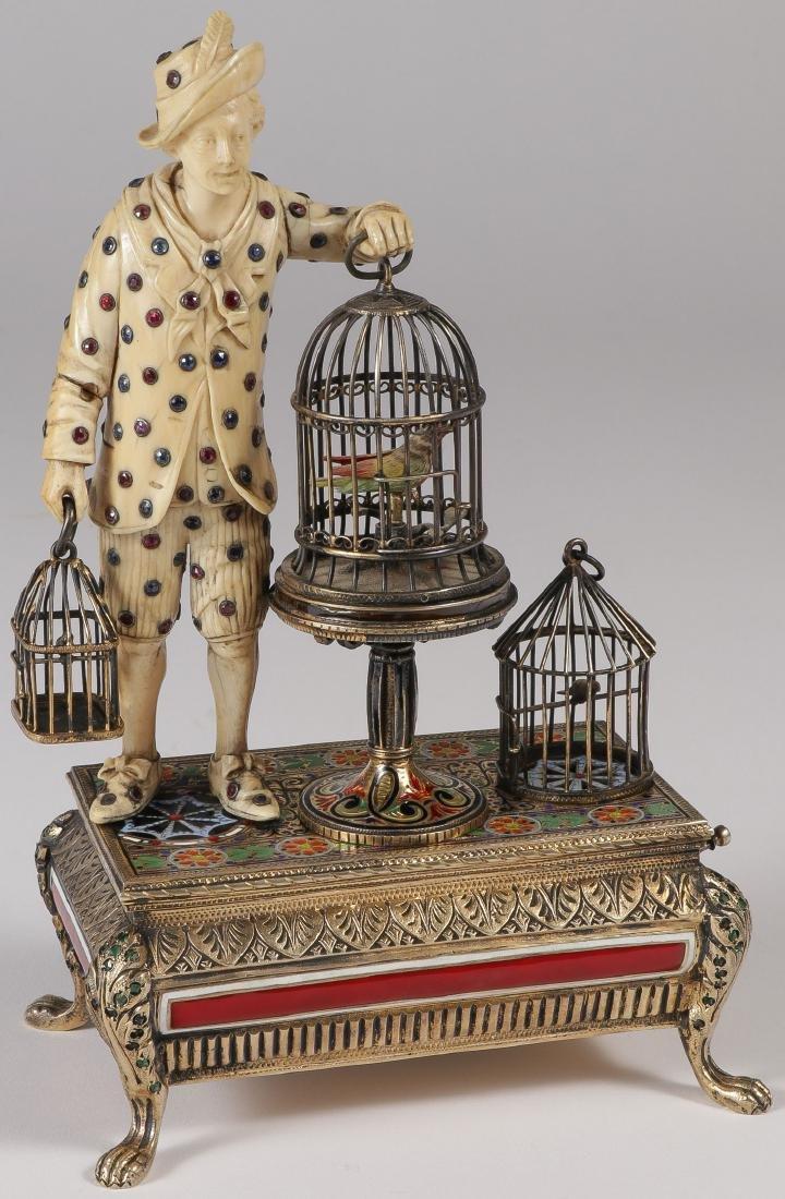 VIENNESE SILVER ENAMEL & GEM SET MUSIC BOX, 1890