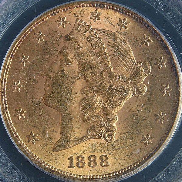 1: A U.S. GOLD DOUBLE EAGLE 1888 graded PCGS MS 61.