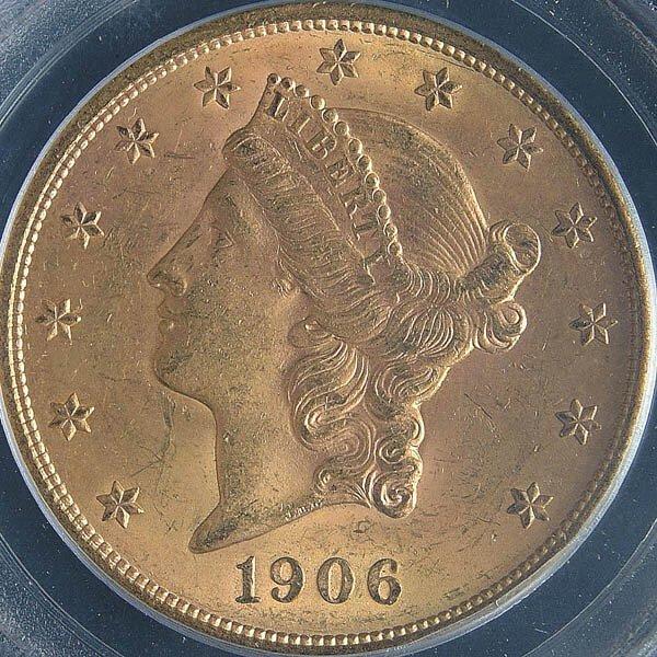 2: A U.S. GOLD DOUBLE EAGLE 1906-D graded PCGS MS 62