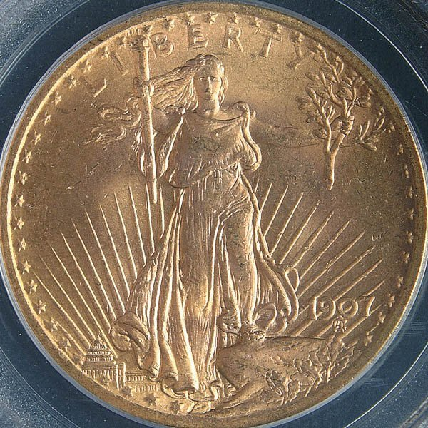 4: A U.S. GOLD SAINT GAUDENS 1907 graded PCGS MS 64.