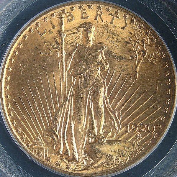 5: A U.S. GOLD SAINT GAUDENS 1920 graded PCGS MS 63.