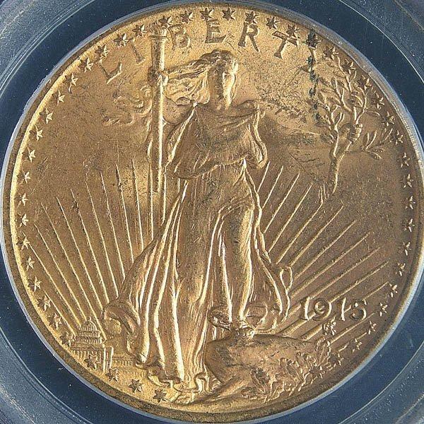 6: A U.S. GOLD SAINT GAUDENS 1915 graded PCGS MS 62.