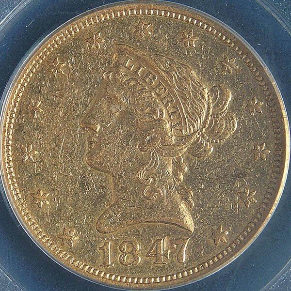8: A U.S. GOLD EAGLE 1847-O, graded PCGS AU50. Estim