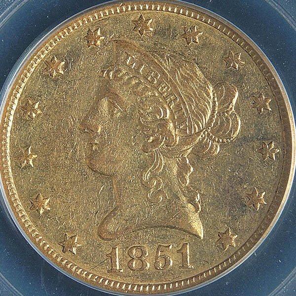 9: A U.S. GOLD EAGLE 1851-O, graded PCGS AU50. Estim