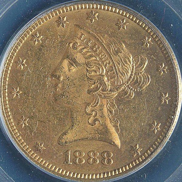 10: A U.S. GOLD EAGLE 1853-O, graded PCGS VF35. Estim