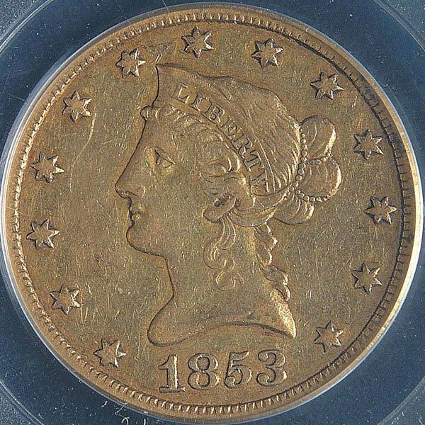 11: A U.S. GOLD EAGLE 1888-O graded PCGS MS60. Estima