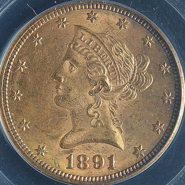 12: TWO U.S. GOLD EAGLES, 1891-CC PCGS MS60 and 1892-