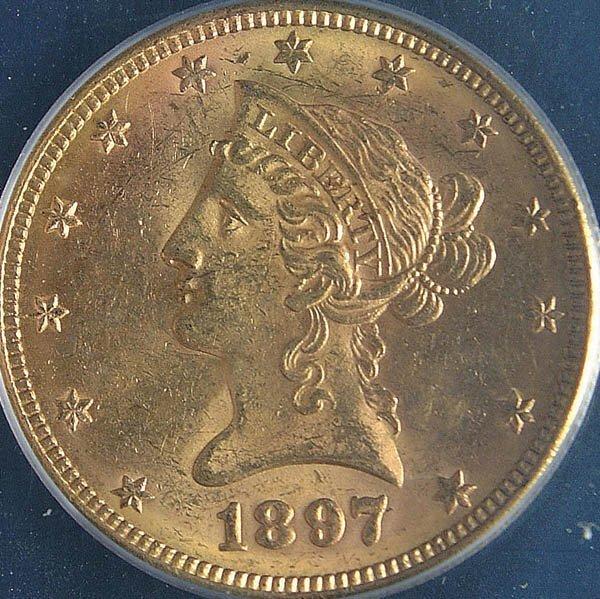 13: THREE U.S. GOLD EAGLES, 1895-S PCGS AU50, 1892-O