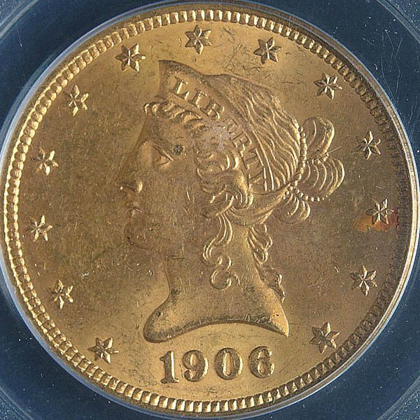 14: TWO U.S. GOLD EAGLES, 1906-O PCGS MS63 and 1907 n