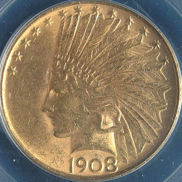 15: TWO U.S. GOLD EAGLES, 1908 no motto PCGS MS60 and