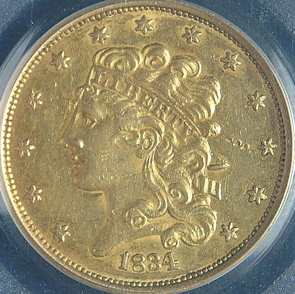 18: TWO U.S. GOLD HALF EAGLES, 1834 PCGS XF40 Plain 4