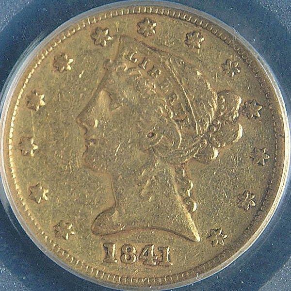 19: A U.S. GOLD HALF EAGLE 1841-D, PCGS VF25. Estimat