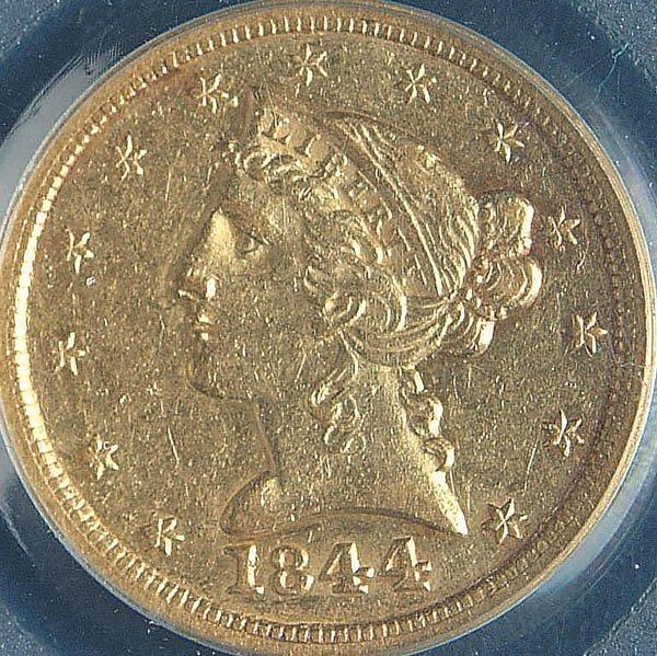 20: TWO U.S. GOLD HALF EAGLES, 1844-O PCGS AU50 and 1