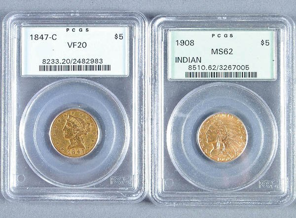 22: TWO U.S. GOLD HALF EAGLES including a $5 1841-C P