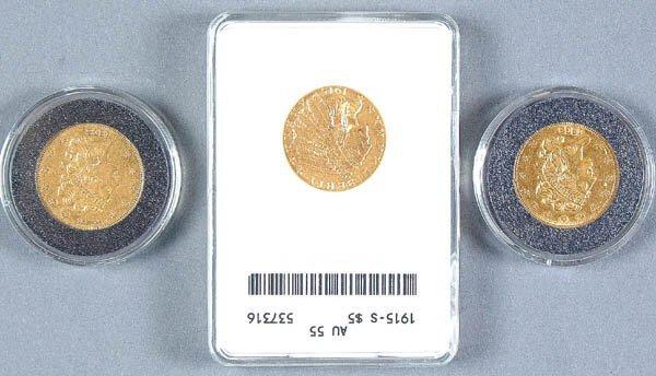 24: THREE U.S. GOLD HALF EAGLES, 1835 VF+, 1838 F-VF,