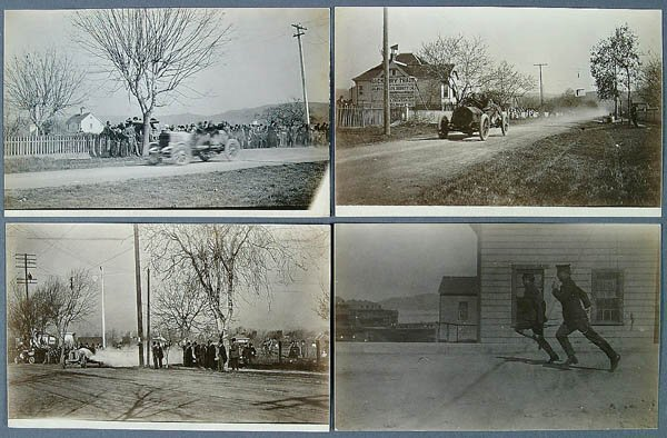 601: 4 REAL AUTO RACE PHOTO POSTCARDS Oakland, CA of a