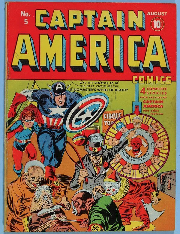 1159: CAPTAIN AMERICA COMIC BOOK #5, 1941. Nice tight c